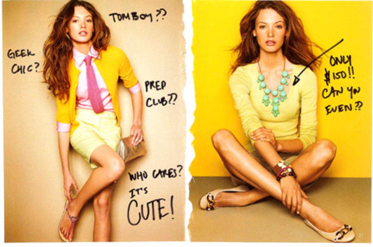 Bold colors and accessories enhance layers, J.Crew Catalog