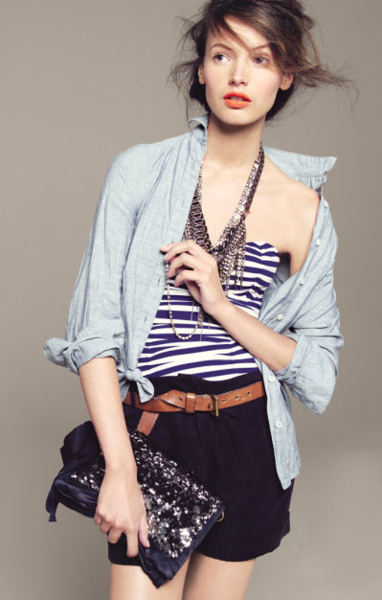 Summer layers. A chambray button down shirt thrown over a striped bustier, J.Crew Catalog
