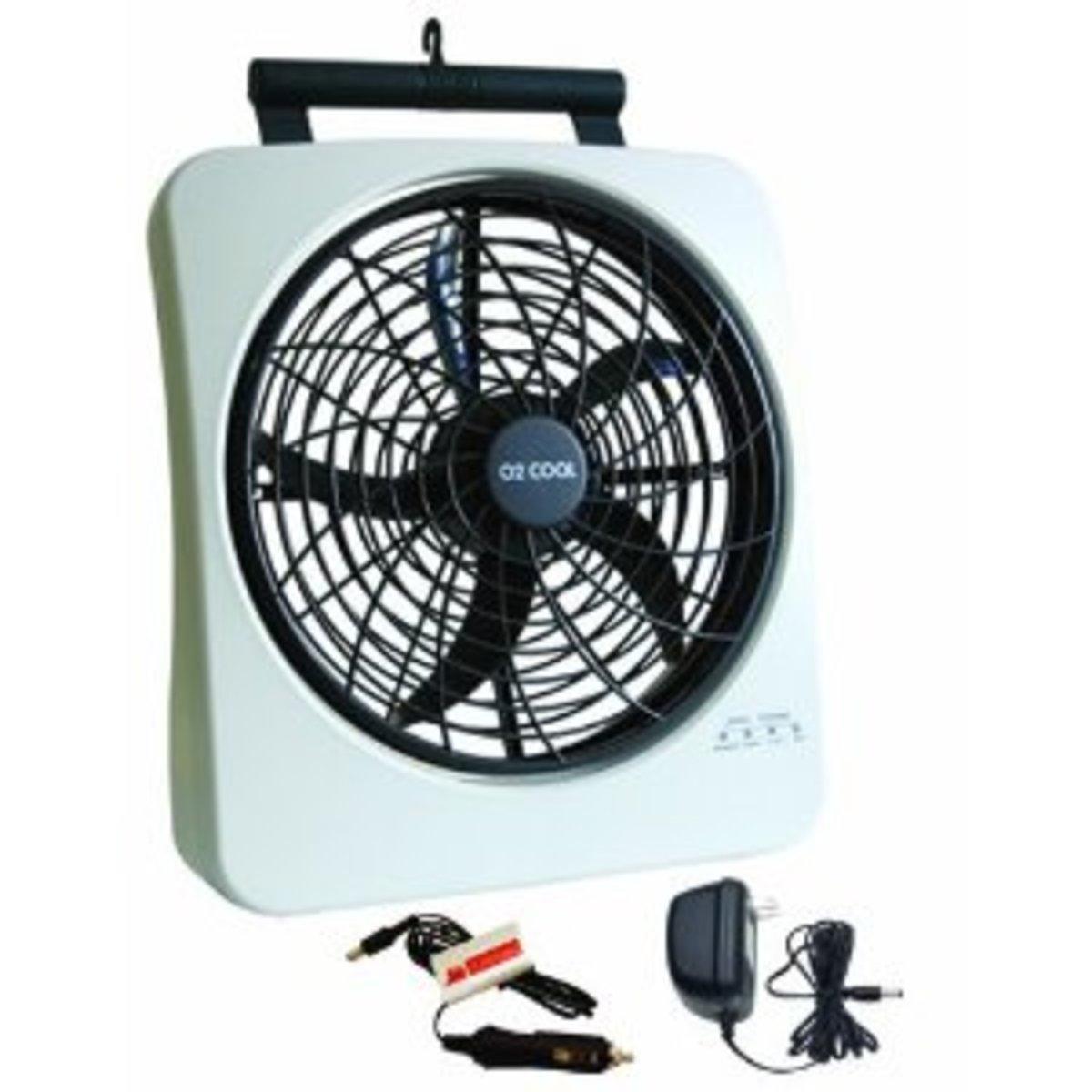 O2Cool 1038 Smart Power Rechargeable Swivel Fan