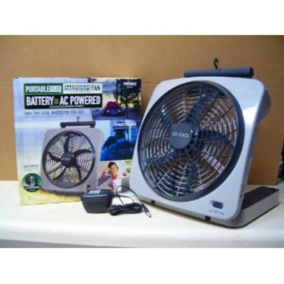"""10"""" BATTERY OPERATED INDOOR/OUTDOOR FAN with ADAPTER"""