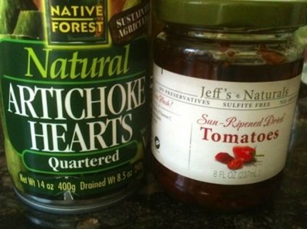 The artichokes and sun dried tomatoes I used in the orzo pasta salad.