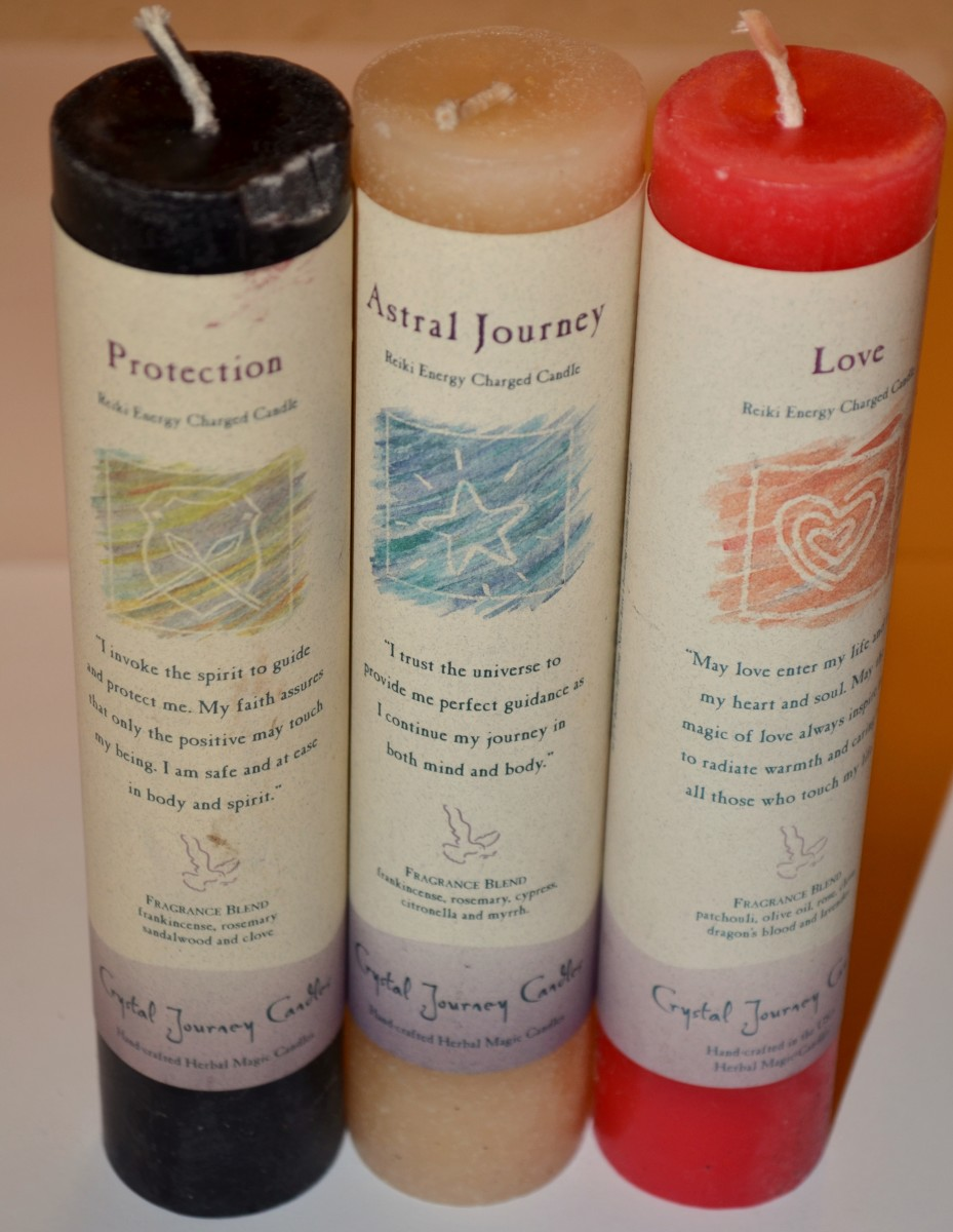 Reiki charged spell candles.