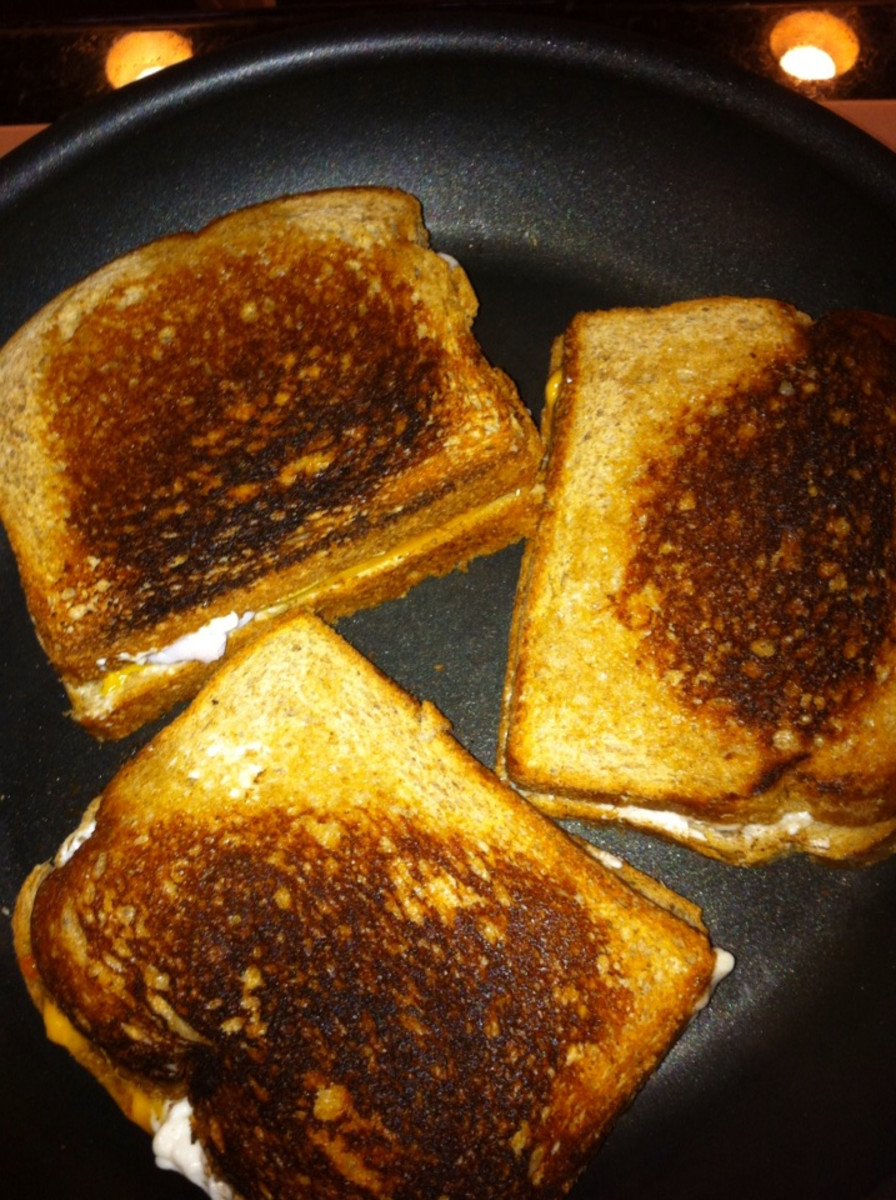 Example of a burnt grilled cheese