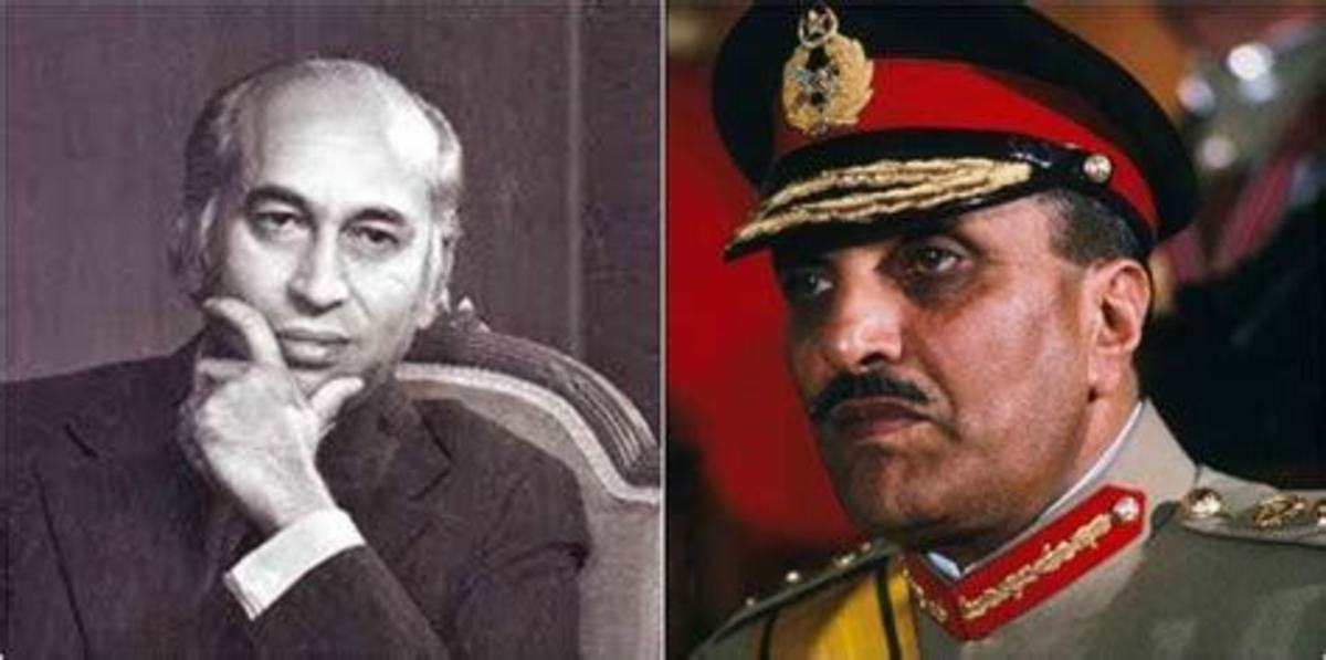 Two protagonists. Zia got Bhutto hanged in 1979 and he was blown up by a bomb in his plane 1989