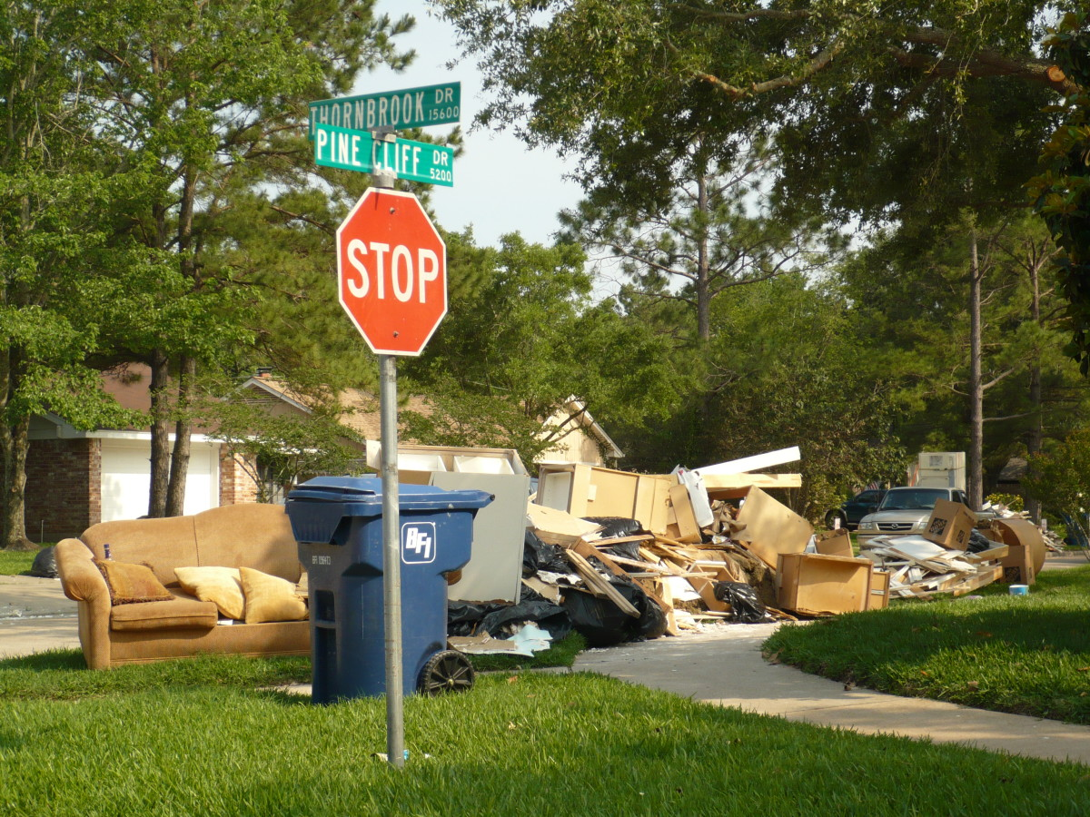Curbside debris after flooding in Houston