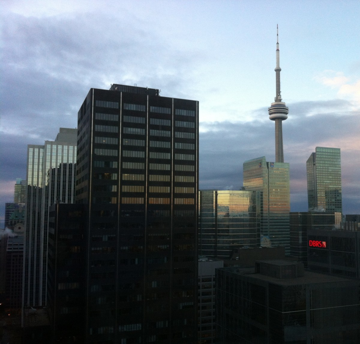 Downtown Toronto, with a view of the CN Tower in the distance.