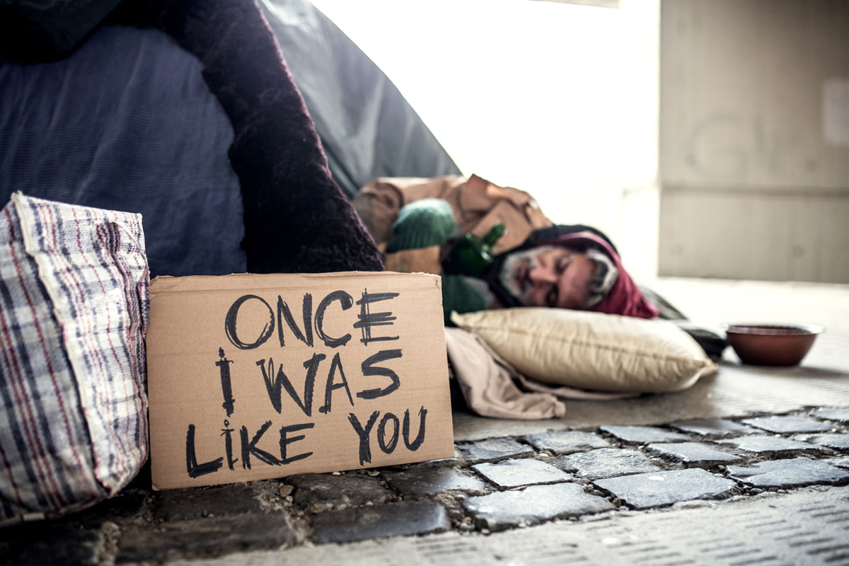 It's important to show compassion for the homeless. Remember that addiction and mental illness can happen to anyone.