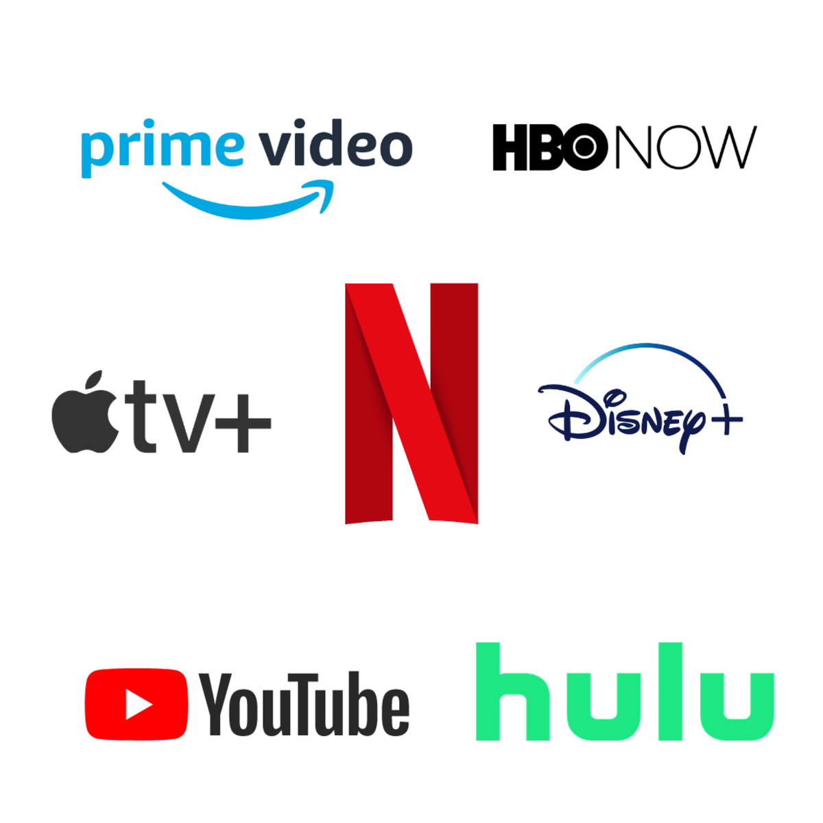 This graphic shows the Netflix logo surrounded by the logos of some of the platforms main competitors.