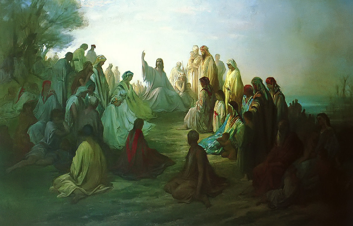 """JESUS PREACHING SERMON ON THE MOUNT"" BY GUSTAVE DORE"