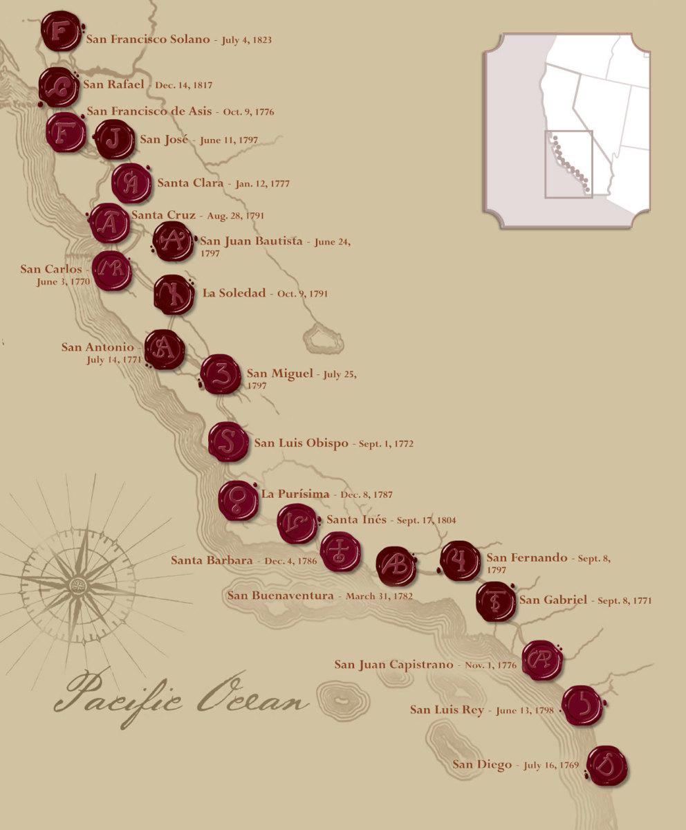 CALIFORNIA MISSIONS BUILT BY THE ROMAN CATHOLIC CHURCH