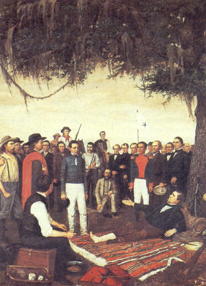 SANTA ANNA SURRENDERS TO THE BEDRIDDEN SAM HOUSTON