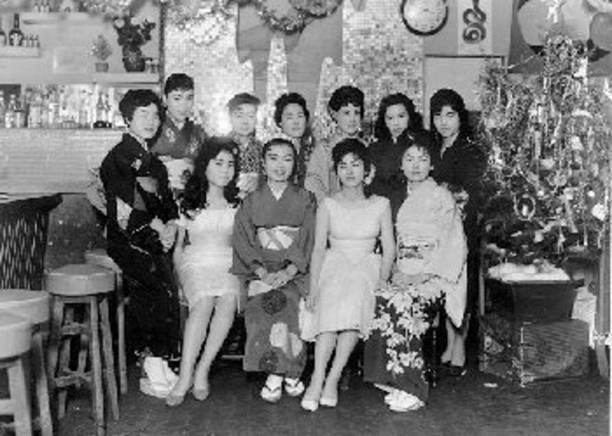 Bair maids in the Dragon Bar in Saitozaki
