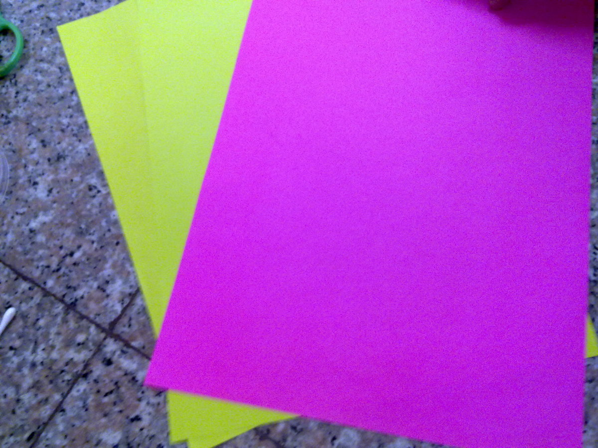 color papers or tissue papers, whichever that you have in hand