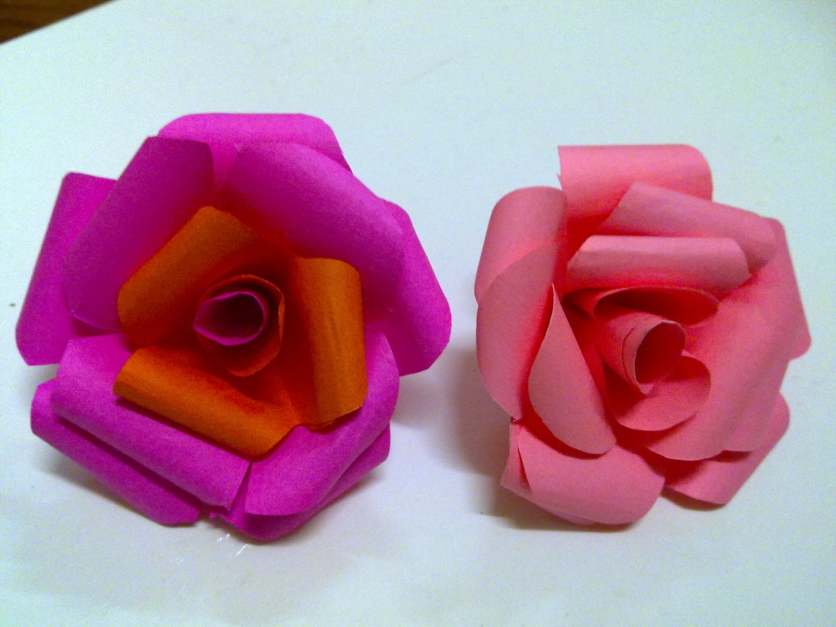 Unique gifts how to make easy paper rose flower hubpages 2 different colors paper rose flower mightylinksfo