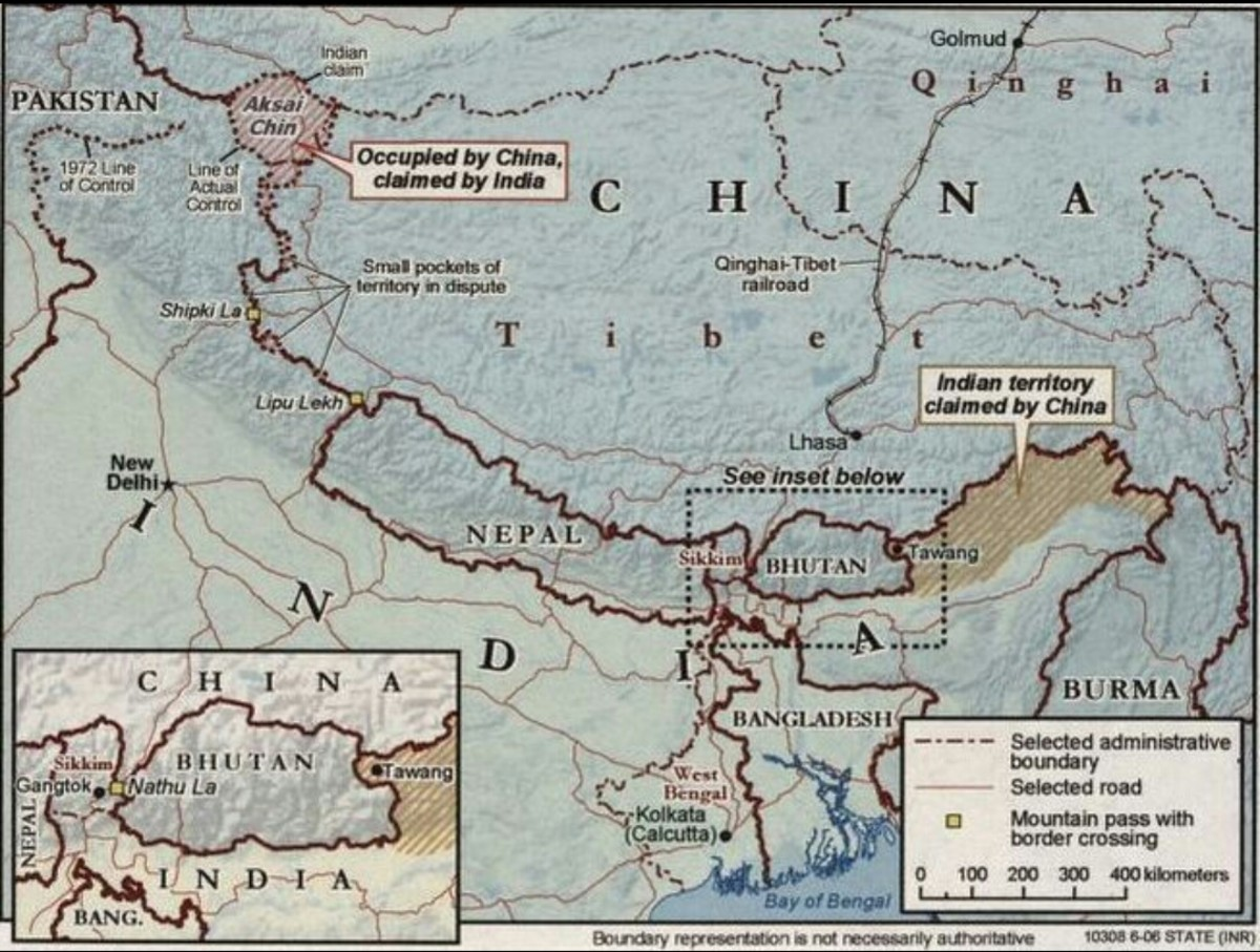 The disputed frontiers between India and China