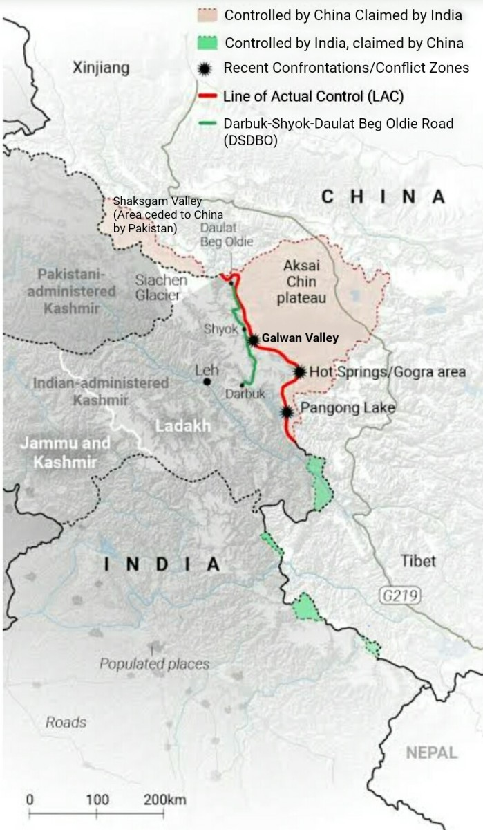 The Northern Frontiers and Conflict zones Along the LAC in Ladakh Region