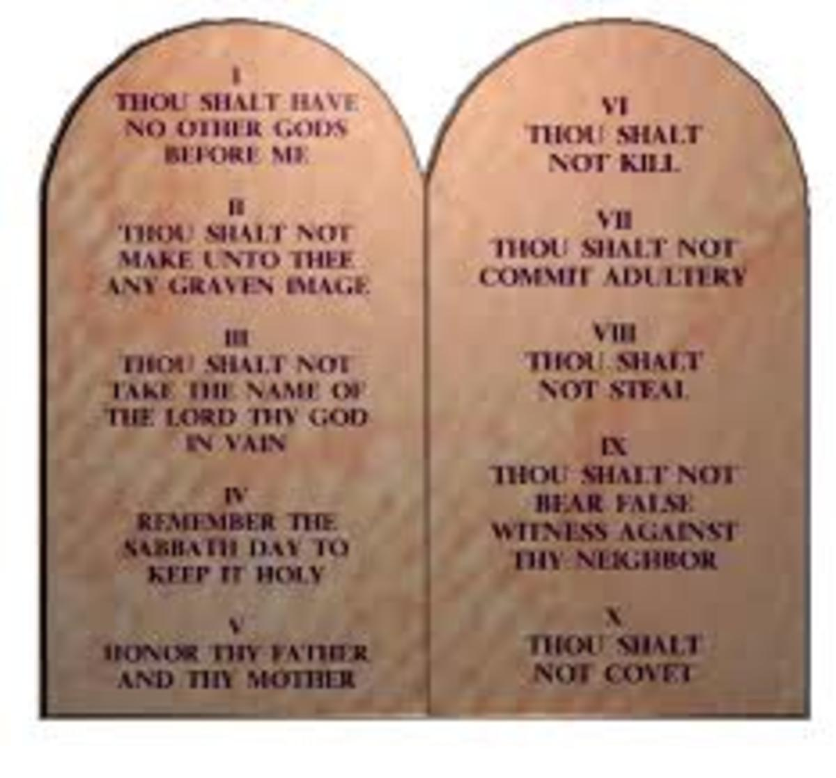 These are the tables of  The Ten Commandment of God according to the Bible, so, any religion that derives from the Bible should follow them, but the Islamic people are ignoring some of them and twisting their meanings.