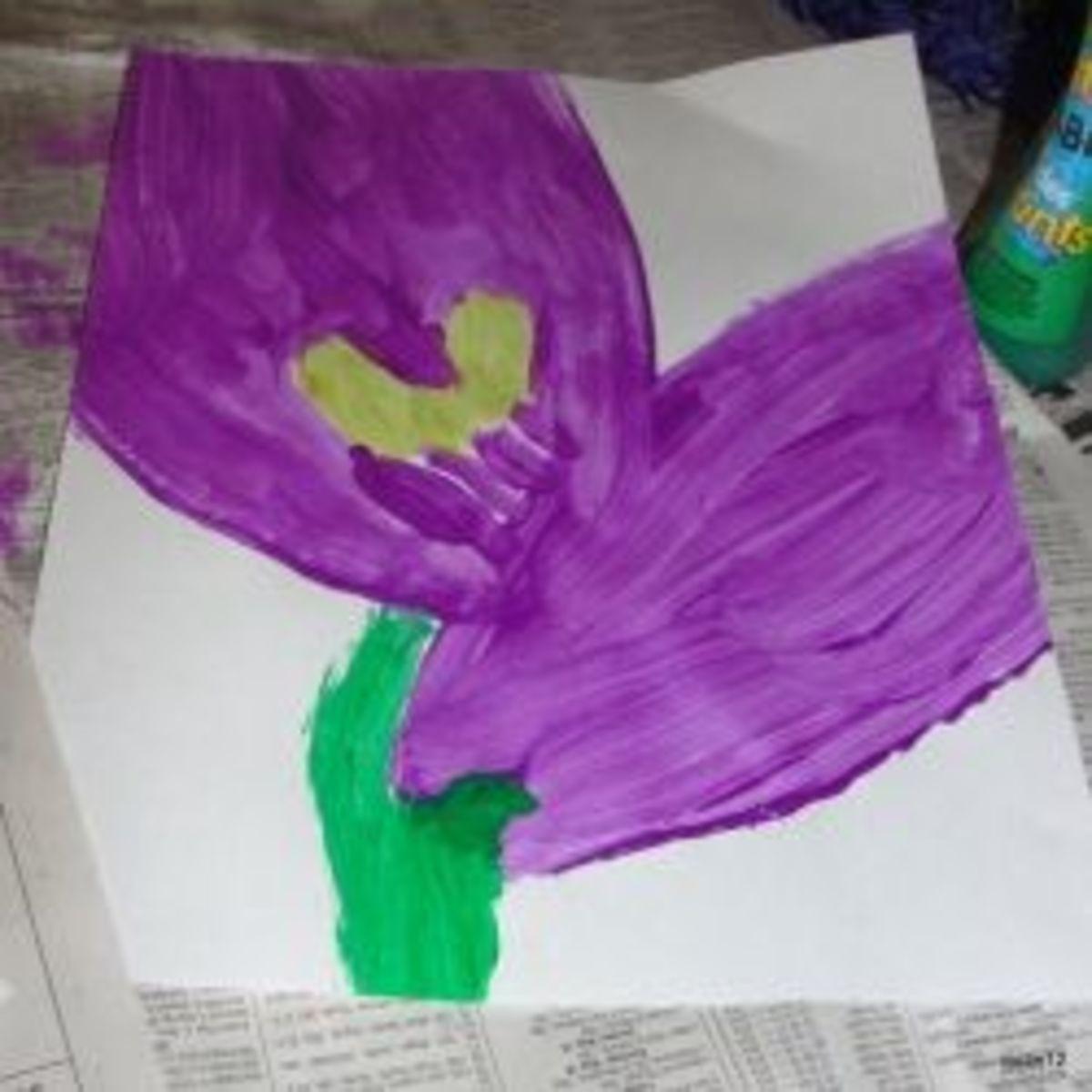Painting a flower Georgia O'Keffee style