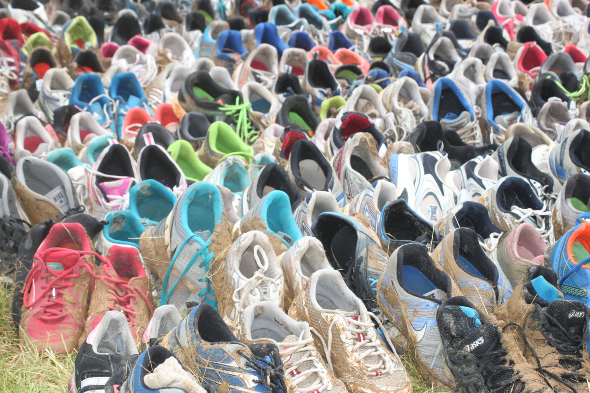 Hundreds of pairs of shoes get left at each Tough Mudder event