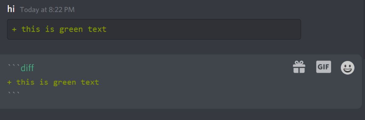 Here is an example of creating green text in Discord!
