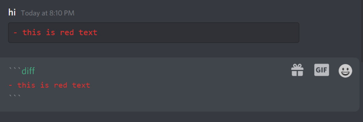 Cool red text you can make in Discord, as well as the format required to create it.