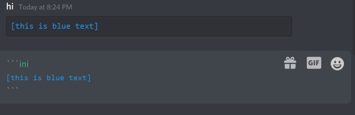 Here's a blue text example, as formatted in Discord!