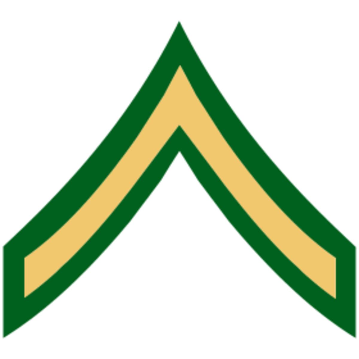 Army Ranks:  PV1, PV2 and PFC