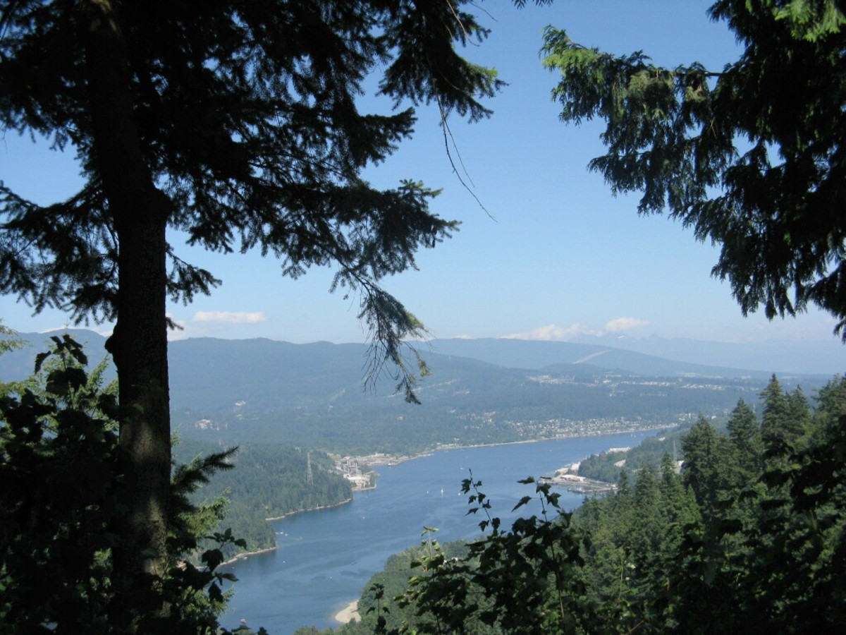 One nice thing about climbing a steep hill is that there is often a view at the top. This is a view of Burrard Inlet in southwestern British Columbia.