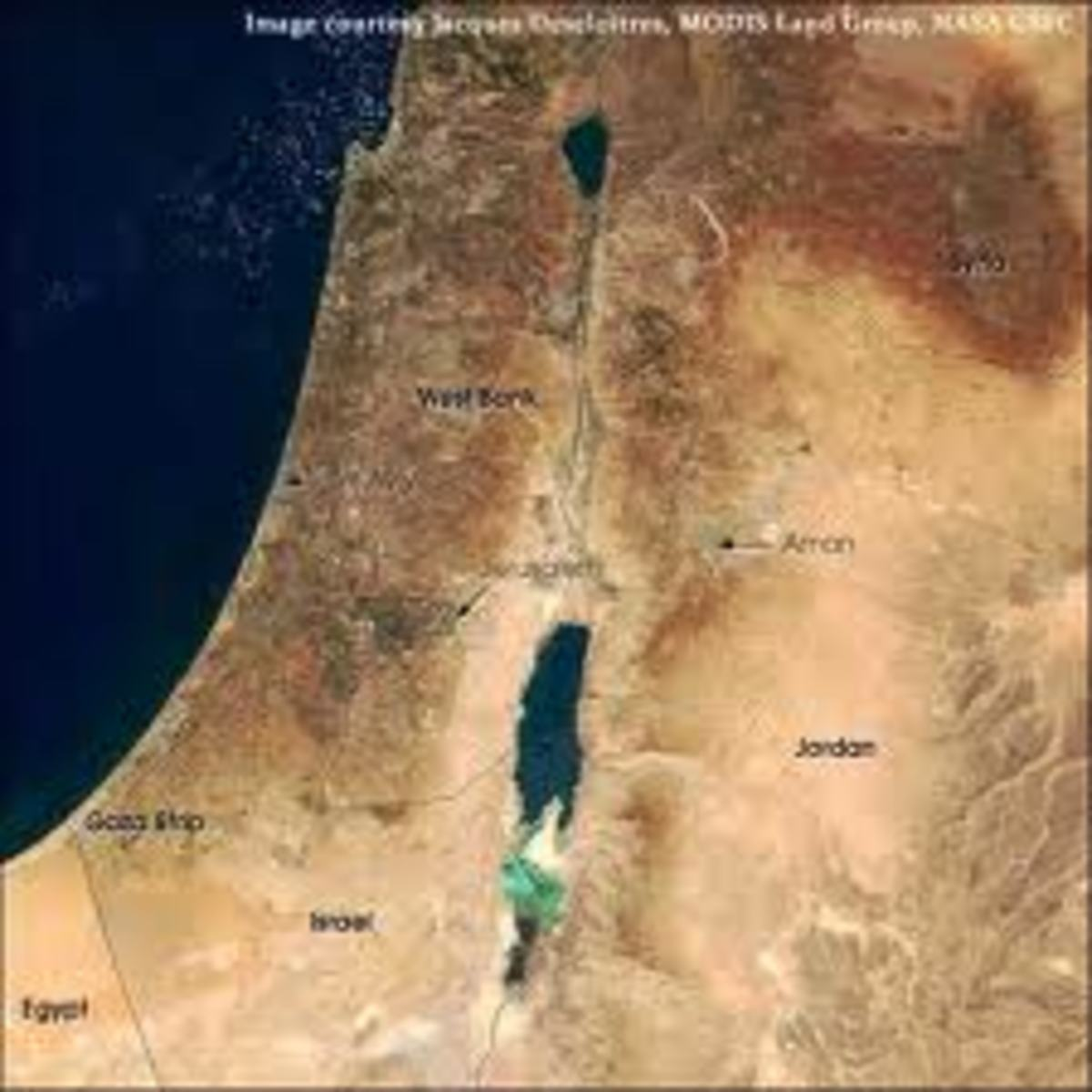 Look at the picture, you can almost see that the Dead Sea is much lower than the Mediterranean sea on the left.