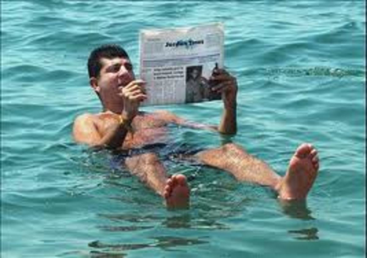 Another strange happening in the Dead Sea is that people don't drown, because the waters are heavier and people float above the water easily.