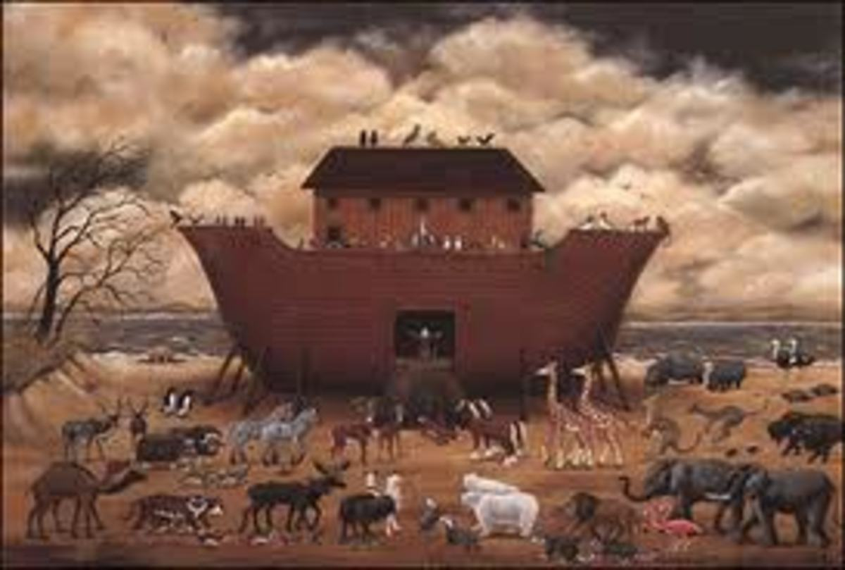 Imaginary reconstruction of Noah arch, waiting for the animals to be let in.