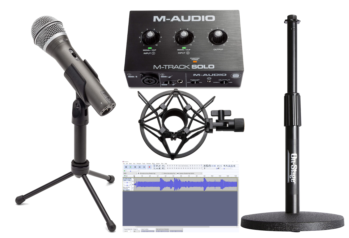 The Samson Q2U microphone and the M-Audio M-Track Solo are affordable entry-level options for podcasting, videos, and voiceovers. Complete your setup with an On-Stage stand and the Knox Microphone Shock Mount along with a DAW like Audacity or Reaper