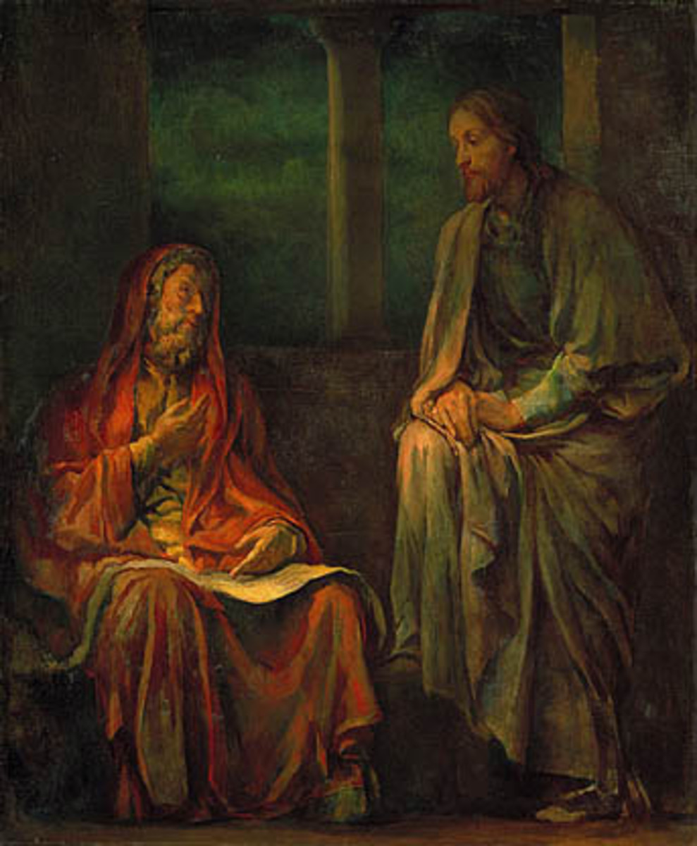 """""""Visit of Nicodemus to Christ,"""" oil on canvas, 1880 by John La Farge, United States"""