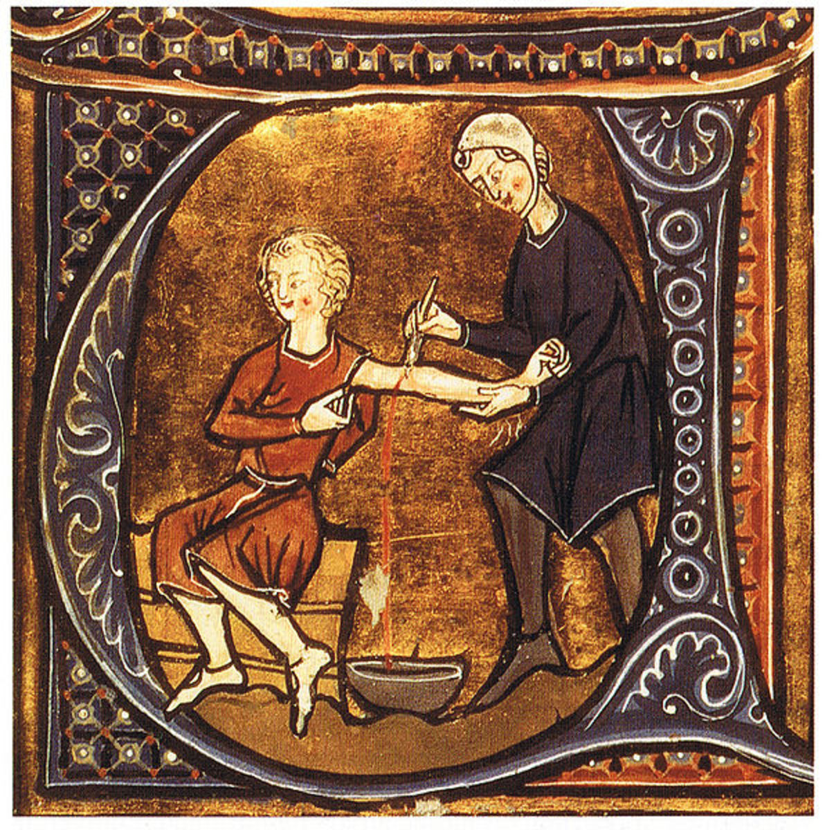 Physician letting blood from a patient. British Library, London. Image courtesy of Wikimedia Commons