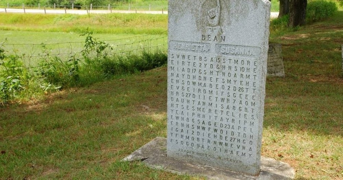 The Beans gravestone bore a crossword puzzle that kept historians and cryptologists busy for the next 75 years.