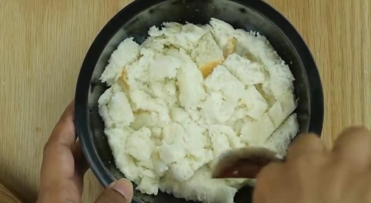 Soak bread in milk