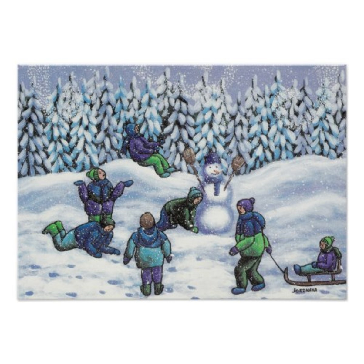 The subject of winter play interpreted by another artist. Just as Grandma Moses displayed a topic in a naive way, this artist expressed it in their own style.