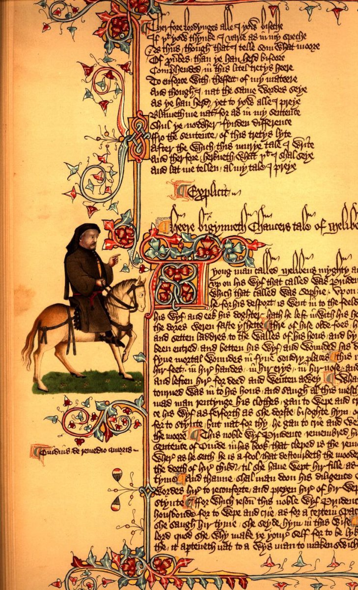 A PAGE FROM THE CANTERBURY TALES WITH CHAUCER AS THE PILGRIM