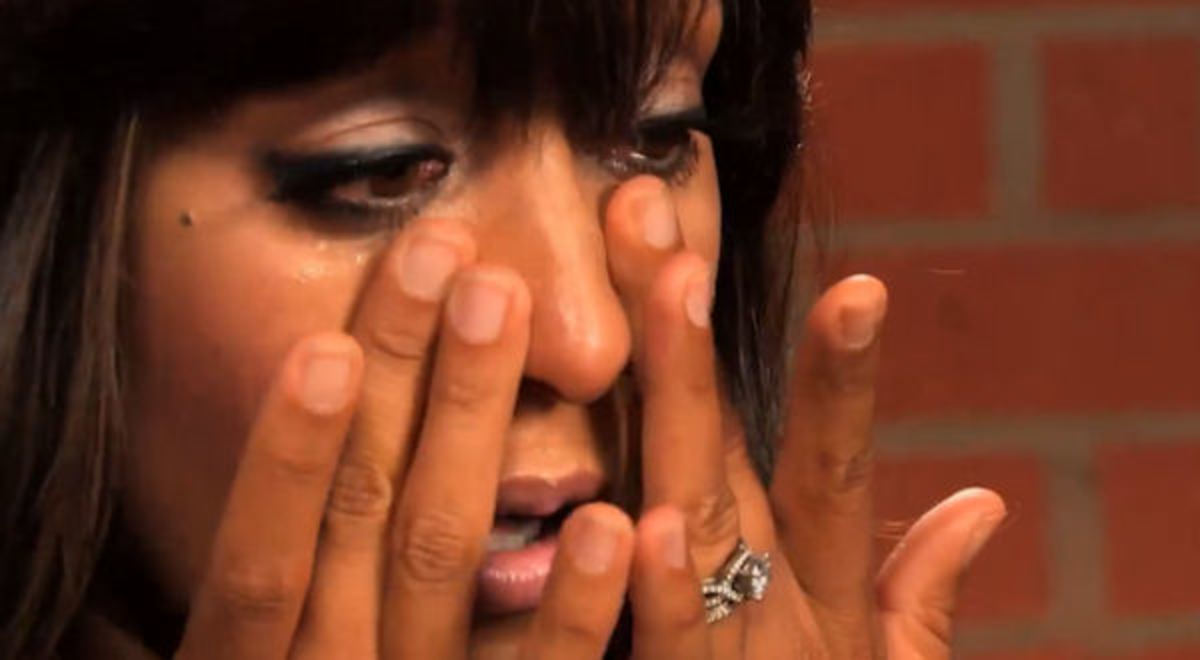 Tamera Mowry cries about social response to her marriage.