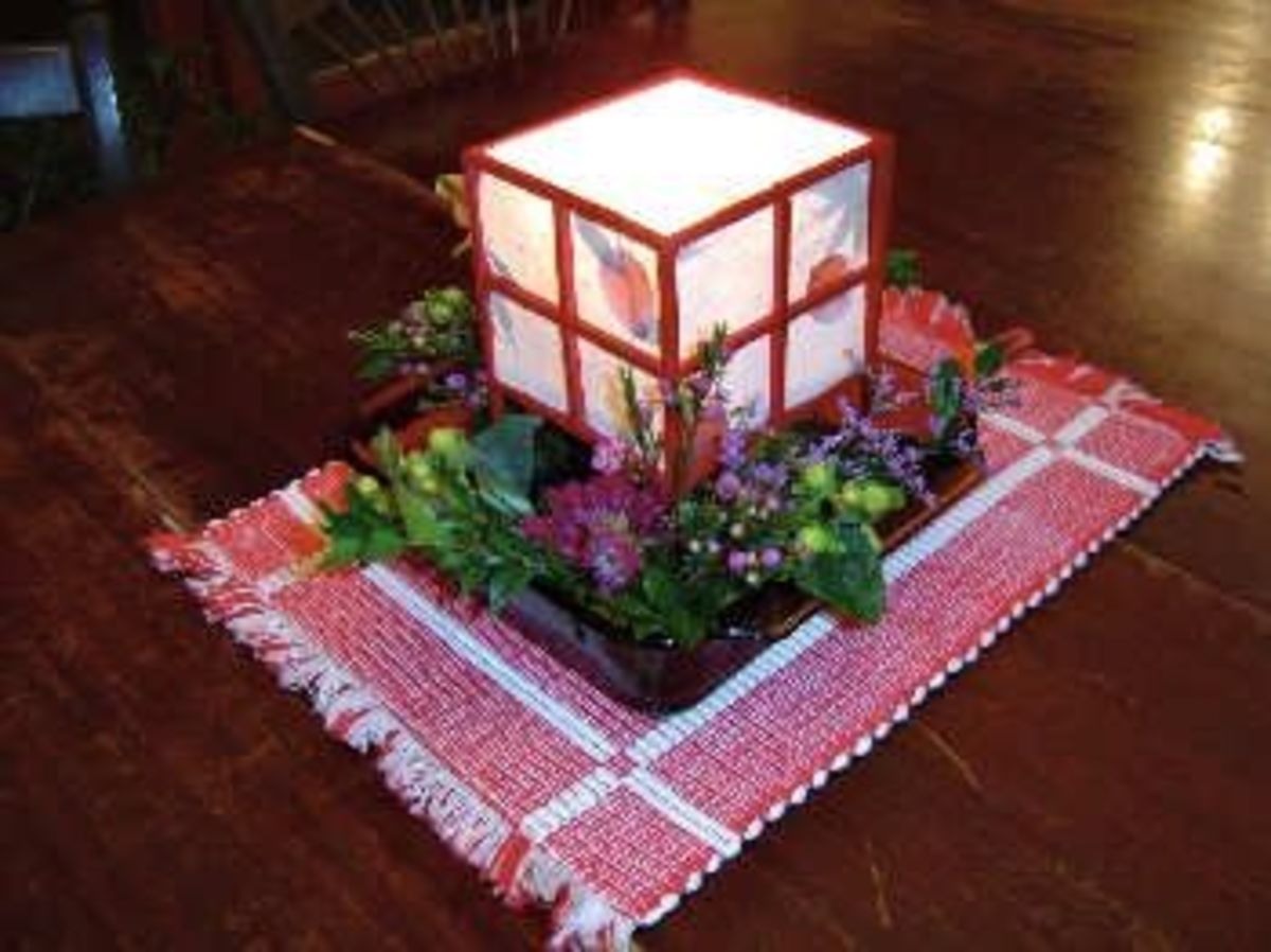 pre-wedding mock-up of the centerpiece arrangements