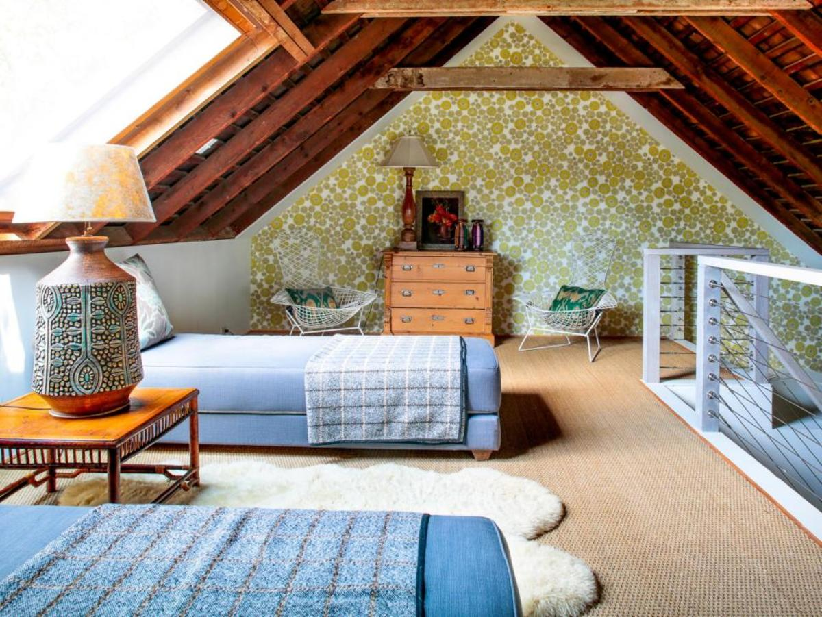 A dusty attic becomes a classic cottage twin bedrooms.