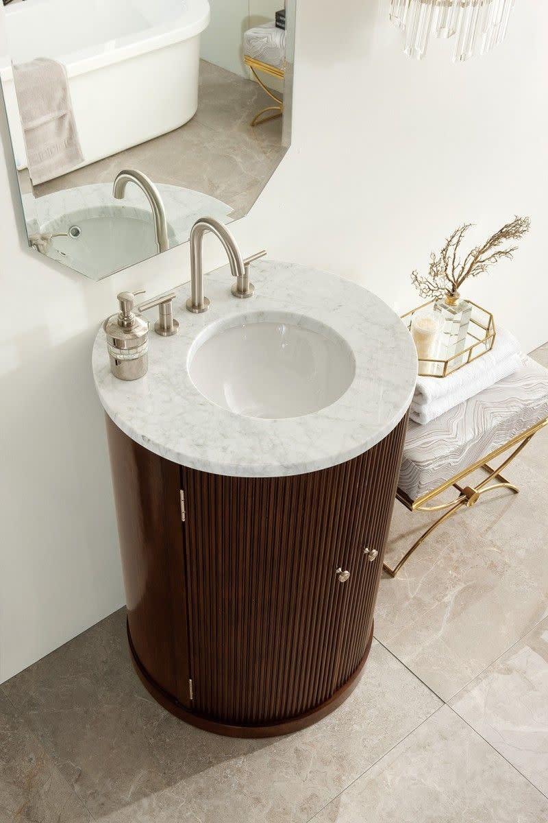 Corner bathroom vanity and stylish space-saver for your bathroom — rounded corner bathroom vanity.
