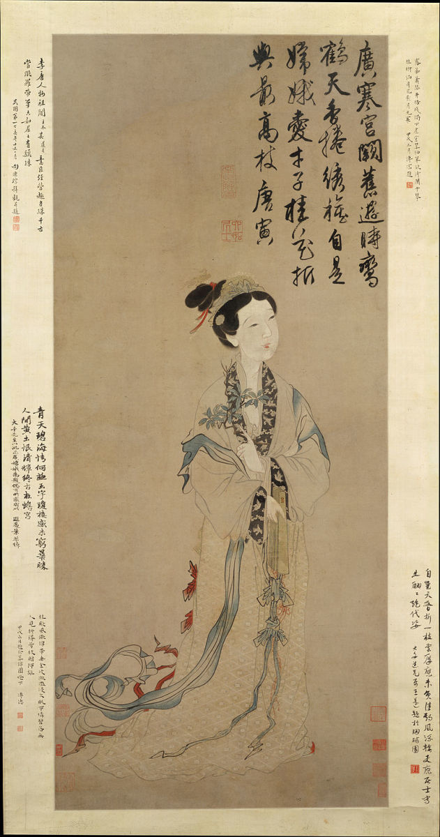 A drawing of the Chinese moon goddess Chang'e - while the book discusses European traditional ideas of the moon, it doesn't mention myths and traditions from other regions