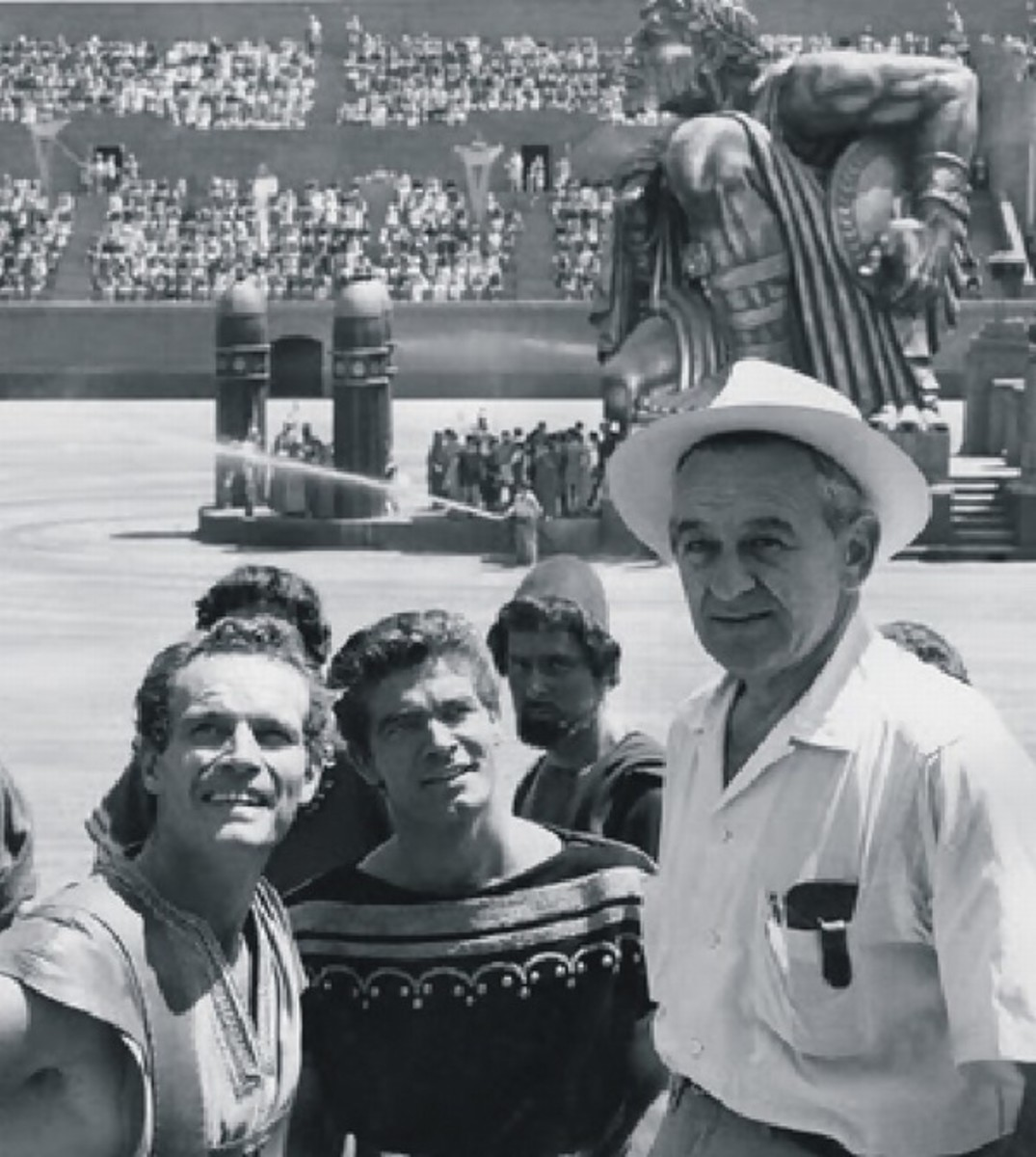 William Wyler with Charlton Heston and Stephen Boyd