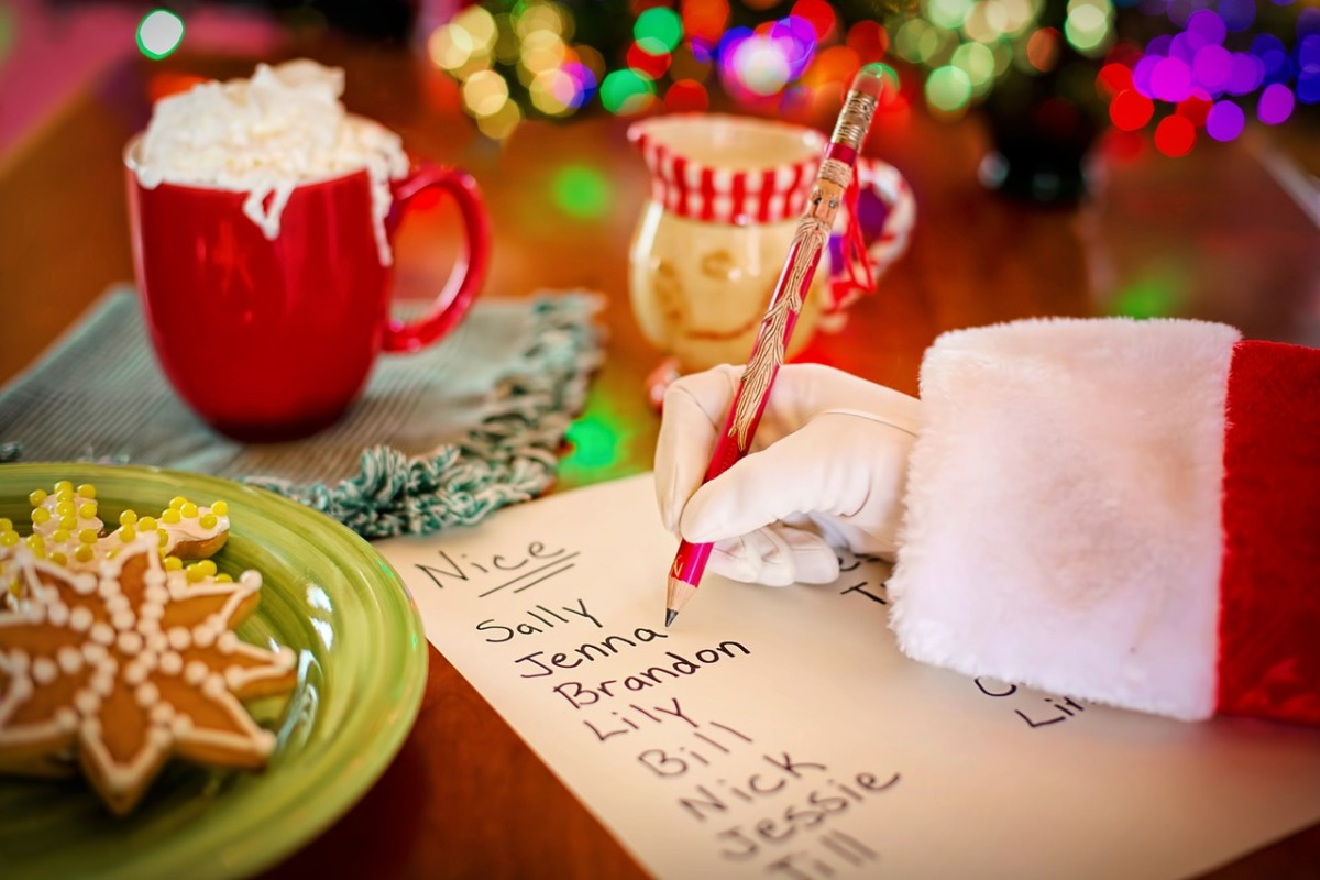 Santa making a list and keeping track of good little boys and girls.