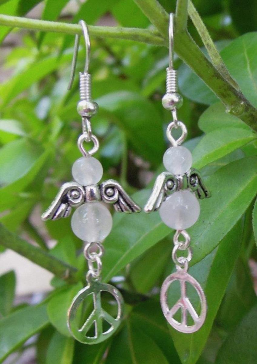 Rose Quartz Peace Earrings