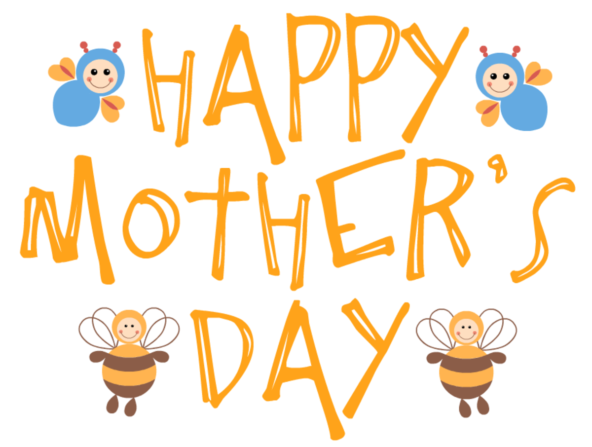 free Happy Mother's Day clip art -- busy bees -- yellow