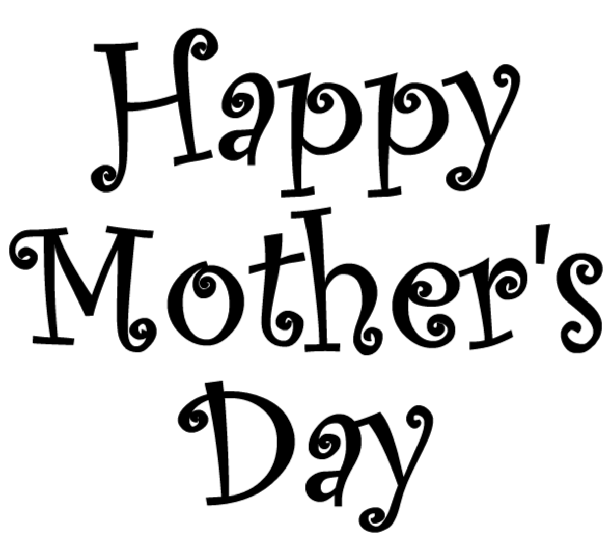 Happy Mother's Day clip art -- black