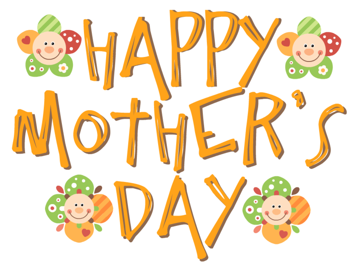 Happy Mother's Day clip art -- happy faces -- mustard