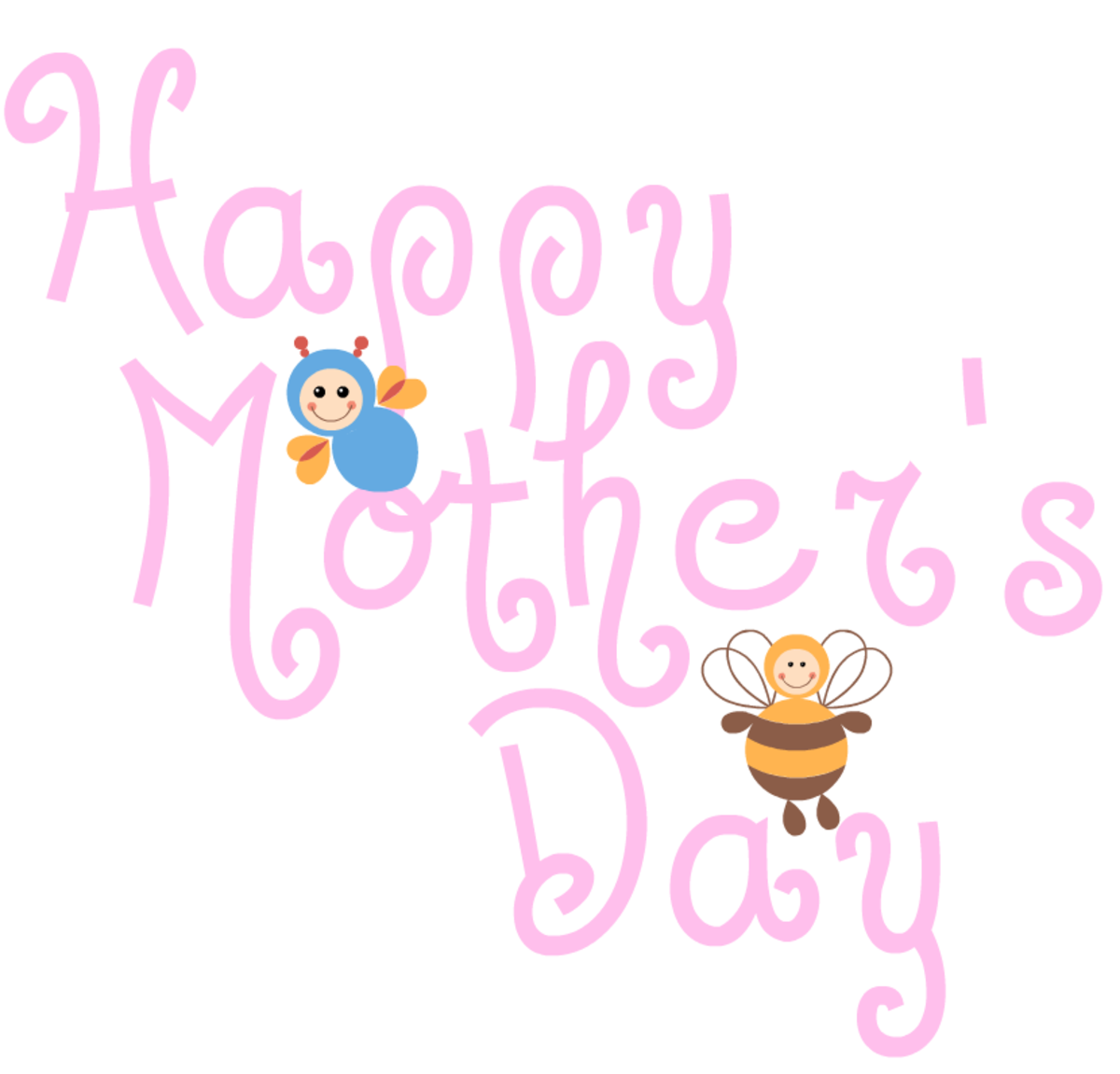 Happy Mother's Day clip art -- busy bees -- pink